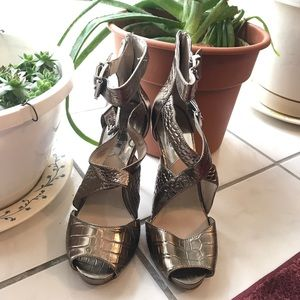 Michael Kors Pewter Silver Buckle Strappy Heels